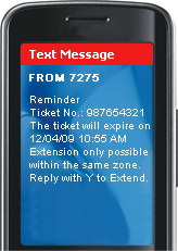 You will receive a reminder message 10 minutes before the ticket expires.